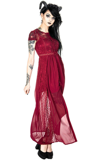 Restyle Red Grace Punk Emo Gothic Rockabilly Adult Womens Dress Lace