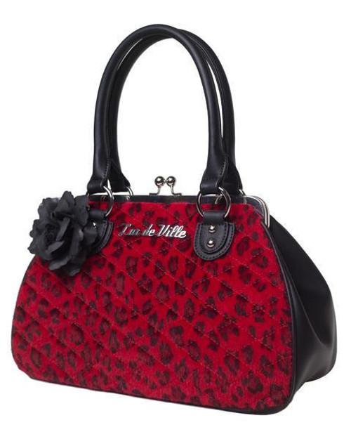 4701d7ffa6 Lux de Ville Black Dahlia Kiss Lock Red Leopard Pinup Tote Bag Purse  BDK112RL