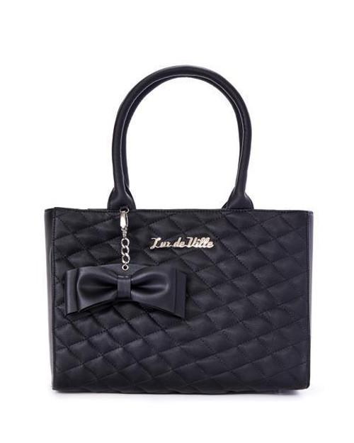 4ecb7d31fe Lux de Ville Sweet Pea Black Matte Rockabilly Pinup Goth Tote Bag Purse  SPT666BM
