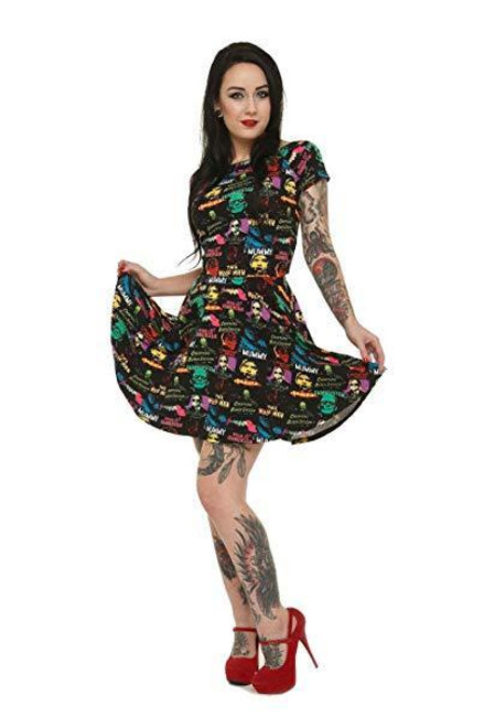 Sourpuss Hallowtiki Halloween Tiki Pumpkins Gothic Punk Horror Dress SPDR525