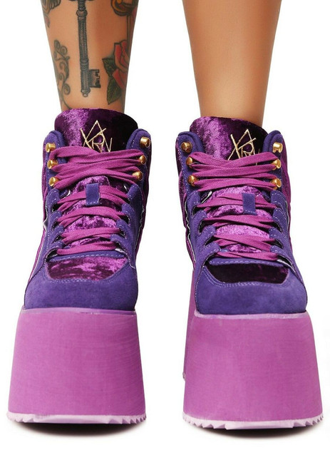 5586668456988 ... YRU Qozmo High Top 2 Purple Velvet Suede Rave Goth Punk Platforms  Sneakers Shoes ...