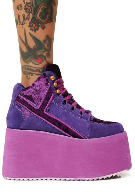 0b92ccbe2b ... YRU Qozmo High Top 2 Purple Velvet Suede Rave Goth Punk Platforms  Sneakers Shoes ...