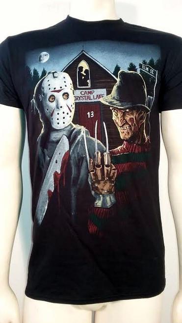 fc8eda3606f Freddy VS Jason Camp Crystal Lake Scary Horror Movie Halloween Mens Shirt  72-151