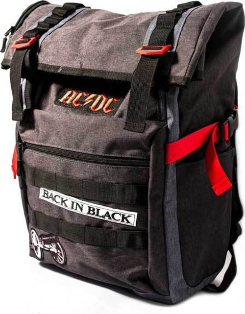01fe6f0a9293d AC/DC Back in Black Roll Top Rock & Roll School Book Bag Backpack  BP00359ACDU
