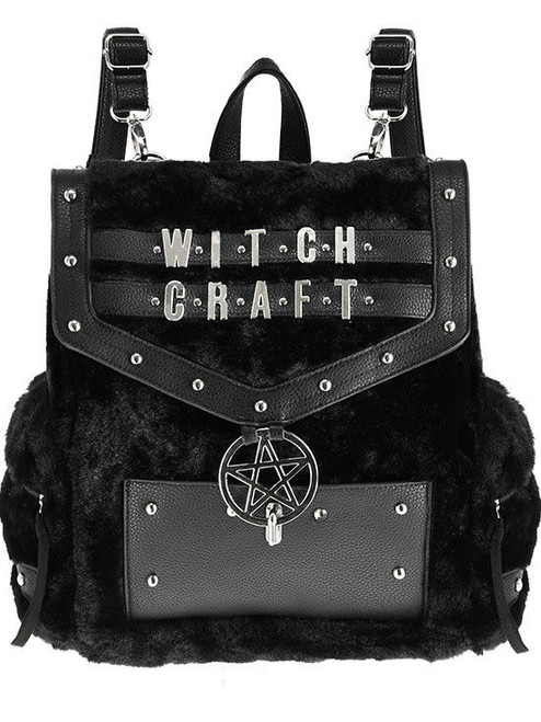 53d49ce490b3 Restyle Witchcraft Faux Furry Gothic Pentagram Punk School Book Bag Backpack