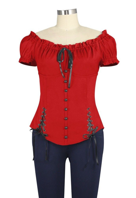 Sweetheart Gothic Steampunk Victorian Layer Corset Tie Lace Up Top Blouse Shirt