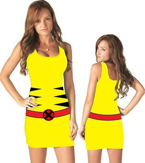 f6c6f5e7 Authentic Wolverine X-Men Mutant Marvel Comics Costume Juniors Tank Dress S- Xl