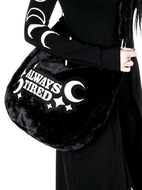 eca33d06eed8 ... Restyle Always Tired Crescent Moon Black Furry Gothic Punk Hobo Sack  Bag Purse ...