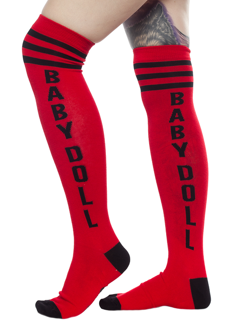 9caa936d573 Sourpuss Baby Doll Red Gothic Punk Rockabilly Pin Up Knee High Socks SPSO59