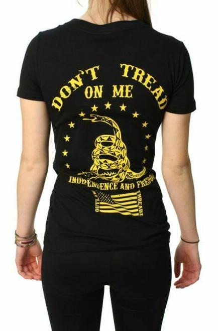 ca6a8fc2 Outlaw Threadz Don't Tread on Me American Flag USA Patriotic V Neck T Shirt  WT50