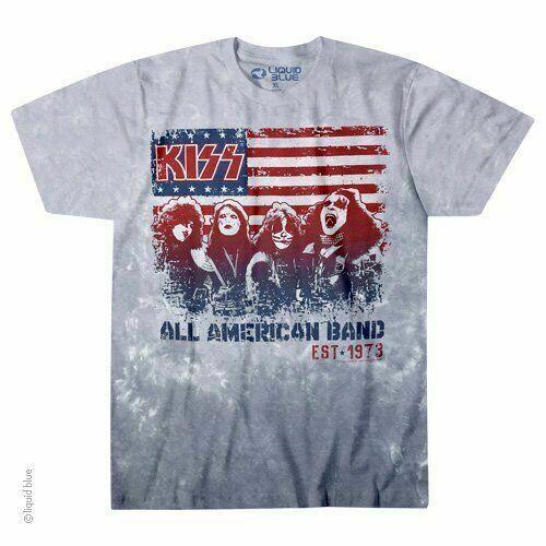 a2ad221feb15de KISS All American Band Flag USA Metal Classic Rock Music Tie Dye T Shirt  11883