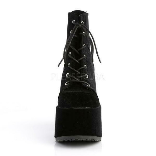 Demonia Black Velvet Gothic Punk Lace Up Platforms Ankle Heels Boots Cam203bvel