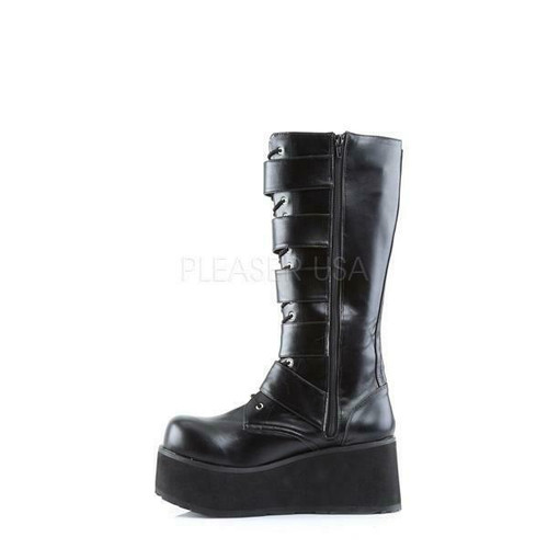 e80e70864b9f7 ... Demonia Cyber Gothic Buckles Black Punk Knee High Platforms Boots  Trashville-518 ...