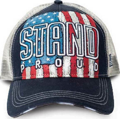 457bff90628b3 Stand Proud United States of America Patriotic Flag Mesh Back Trucker Hat  9136