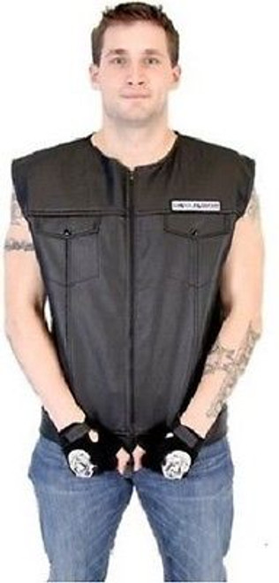 3e67dacb3 ... SONS OF ANARCHY BLACK FAUX LEATHER HIGHWAY REAPER PATCH BIKER VEST  S-4XL ...