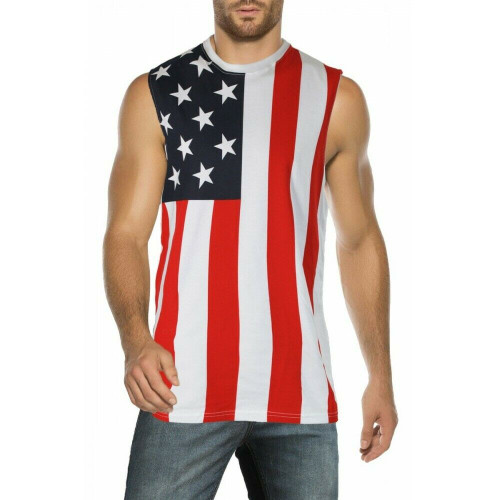 USA Black /& White Flag American Patriotic Stars Army Mens Tank Top Shirt MUHUBW