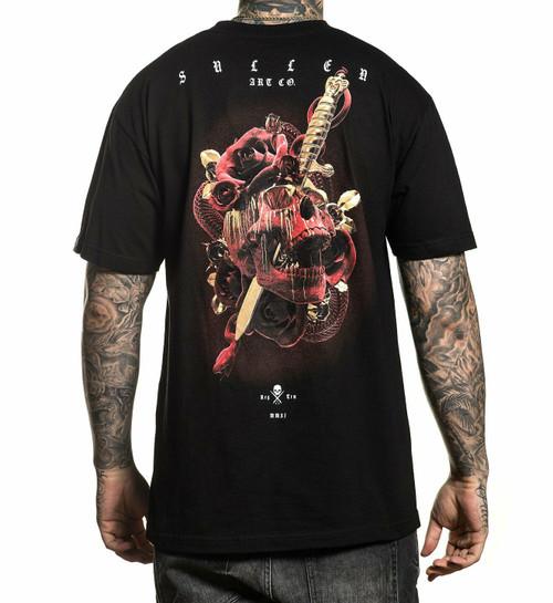 Sullen Orange Crush Tie Dye Skull Spider Web Biker Tattoo Dagger T Shirt SCM2665