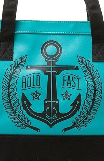 Sourpuss Hold Fast Nautical Emo Goth Aqua Purse Punk Tattoo 50S Handbag Tote