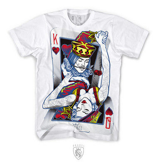 f5abcf733d OG ABEL CLOTHING DANCING CARDS URBAN KING QUEEN INK TATTOO WHITE TEE SHIRT S -4XL