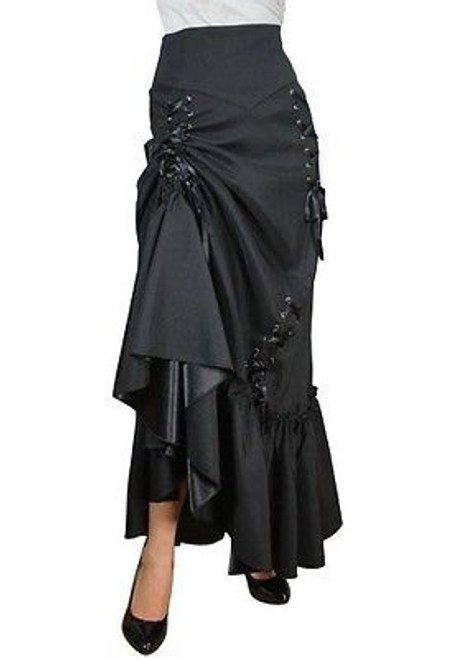 724876b7a ... THREE WAY LACE UP RENAISSANCE SKIRT BLACK GOTHIC VICTORIAN STEAMPUNK  SEXY PUNK ...