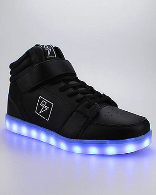 ELECTRIC STYLES LIGHT UP HIGH TOP BOLT BLACK LED SNEAKERS SHOES SIZE K1W3 M15