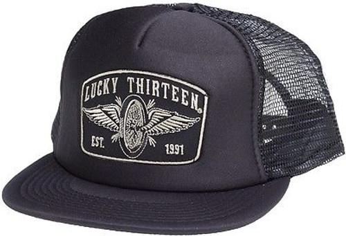 4481a9a8a8ef6 Lucky 13 Speedster Winged Wheel Tattoo Skull Goth Foam Mesh Trucker Hat Cap