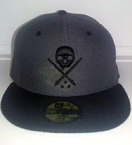 ebdb39a859e737 Sullen New Era Eternal Skull Grey Biker Tattoo Goth Punk Fitted Hat Cap  Sca0032