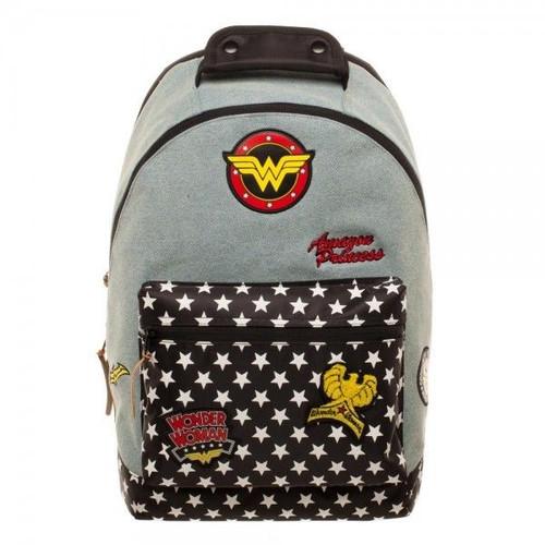 4e4523674825 Wonder Woman Backpack With Patches DC Comics Hero Denim Laptop Bag BP57NNDCO
