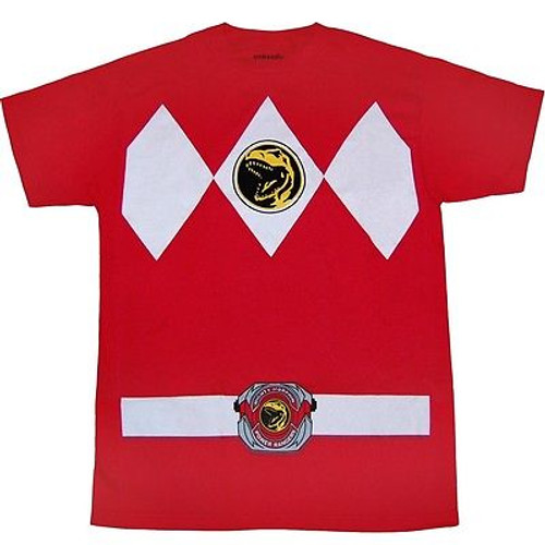 9f8f343b Authentic Mighty Morphin I Am Red Power Ranger Rangers Mens Costume Shirt  S-2Xl