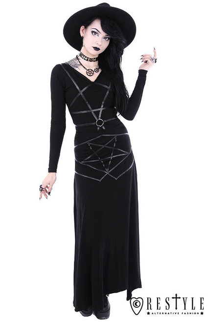 dcc84ed433 ... Restyle Pentagram Witch Wicca Magic Punk Gothic Emo Adult Womens Maxi  Skirt ...