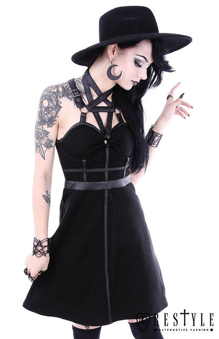 b4a0c750863 ... Restyle Pentagram Goth Gothic Punk Emo Rocker O-Rings Adult Womens  Party Dress ...