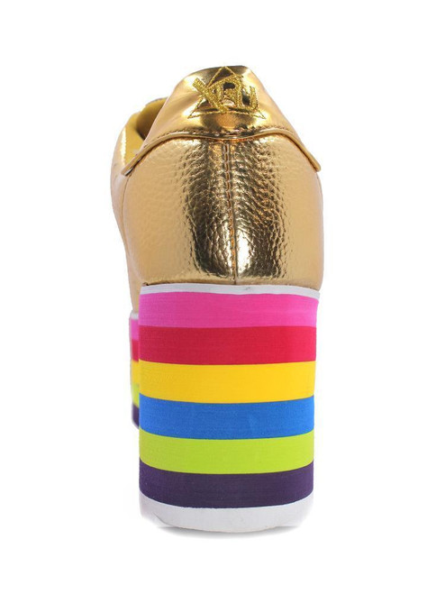 0ec2a05ac921 ... YRU Youth Rise Up Lala Gold Multi Color Rainbow Womens Platform Sneaker  Shoes ...