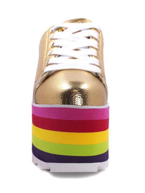 738d390c33c5 ... YRU Youth Rise Up Lala Gold Multi Color Rainbow Womens Platform Sneaker  Shoes