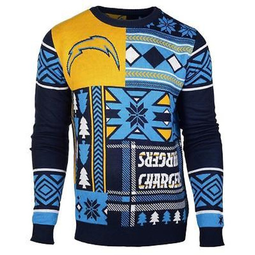 1c472a47 UGLY CHRISTMAS SWEATER NFL SAN DIEGO CHARGERS PATCHES FOOTBALL XMAS CREW  NECK