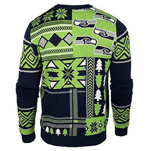 wholesale dealer e1ea1 154ed SEATTLE SEAHAWKS PATCHES FOOTBALL UGLY HOLIDAY CHRISTMAS XMAS CREW NFL  SWEATER
