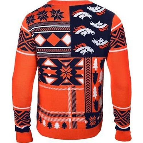 super popular 47bda fa563 UGLY CHRISTMAS SWEATER NFL DENVER BRONCOS PATCHES FOOTBALL XMAS CREW NECK