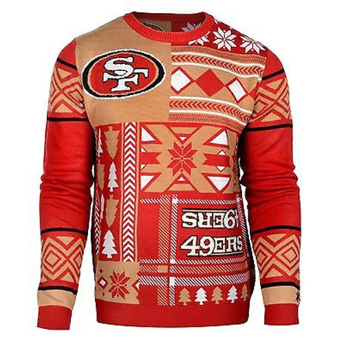 super popular c5f09 e8c91 UGLY CHRISTMAS SWEATER NFL SAN FRANCISCO 49ERS PATCHES FOOTBALL XMAS CREW  NECK