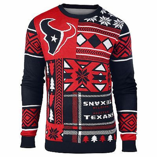 Dc Christmas Sweater.Ugly Christmas Sweater Nfl Houston Texans Texas Patches Football Xmas Crew Neck