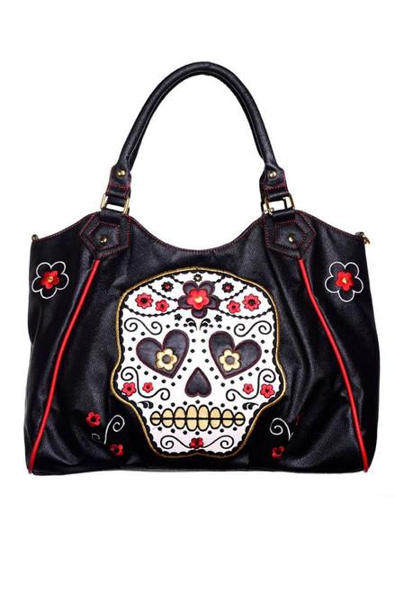 186661db Lost Queen Sugar Skull Day of the Dead Gothic Shoulder Purse Bag BBN748BLK