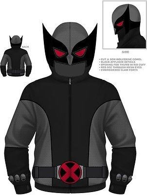 aa757aa6 AUTHENTIC MARVEL COMICS WOLVERINE GRAY WOLF X-MEN COSTUME HOODIE S M L XL  2XL