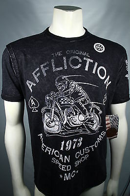 Authentic Affliction American Customs Ac Racer Black Reversible T Shirt  Small