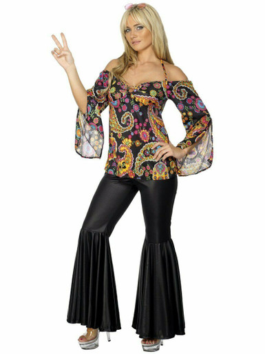 60s Groovy Babe Hippy Lady Costume Flares Psychedelic Womens Fancy Dress New