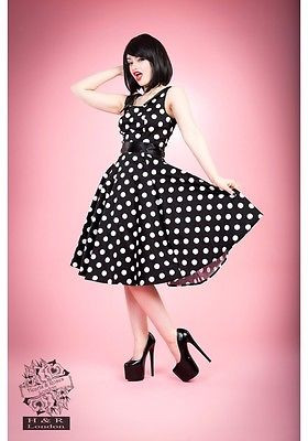 H/&R LONDON SCALLOP BLACK WHITE COCKTAIL 50s PINUP PUNK VINTAGE PROM DRESS