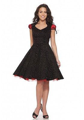 086d1b959c H R LONDON FELINA DRESS BLACK RED GOTH 50s PINUP PUNK VINTAGE PROM DRESS