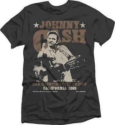 c4862aefc JOHNNY CASH SAN QUENTIN STARS FLIPPING BIRD ROCK COUNTRY MUSIC T TEE SHIRT  S-2XL