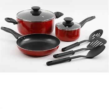 8pc red nonstick alum cookware