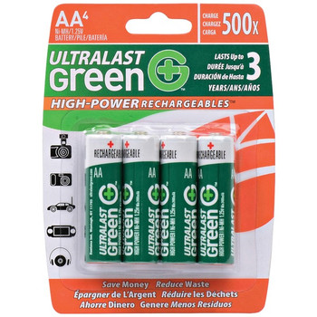 Green High-Power Rechargeables AA NiMH Batteries, 4 pk