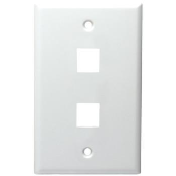 2-Port Standard Size Keystone Wall Plate (White)