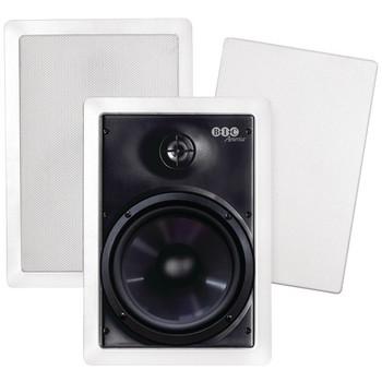 """150-Watt 6.5"""" Weather-Resistant In-Wall Speakers with Pivoting Tweeters & Metal & Cloth Grilles"""