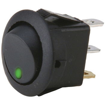 On/off 20-Amp Round Rocker LED Switches without Leads, 5 pk (Green)